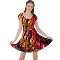 Abstract Fractal Mathematics Abstract Cap Sleeve Dresses