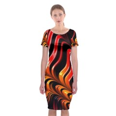 Abstract Fractal Mathematics Abstract Classic Short Sleeve Midi Dress