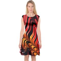 Abstract Fractal Mathematics Abstract Capsleeve Midi Dress