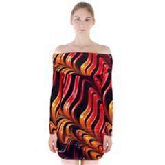 Abstract Fractal Mathematics Abstract Long Sleeve Off Shoulder Dress
