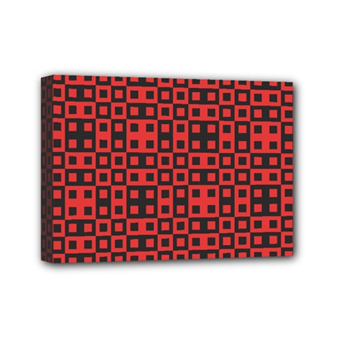 Abstract Background Red Black Mini Canvas 7  X 5