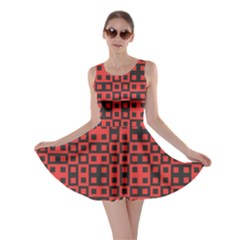 Abstract Background Red Black Skater Dress