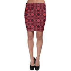 Abstract Background Red Black Bodycon Skirt