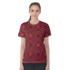Abstract Background Red Black Women s Cotton Tee