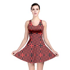 Abstract Background Red Black Reversible Skater Dress
