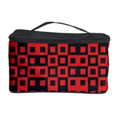 Abstract Background Red Black Cosmetic Storage Case