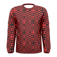 Abstract Background Red Black Men s Long Sleeve Tee