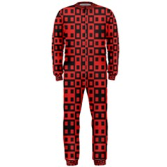 Abstract Background Red Black Onepiece Jumpsuit (men)