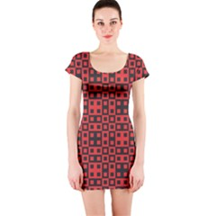 Abstract Background Red Black Short Sleeve Bodycon Dress
