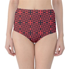 Abstract Background Red Black High Waist Bikini Bottoms