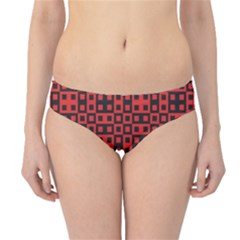 Abstract Background Red Black Hipster Bikini Bottoms