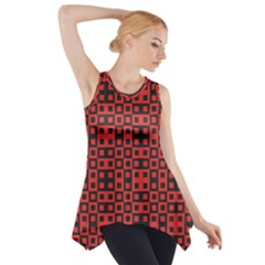 Abstract Background Red Black Side Drop Tank Tunic