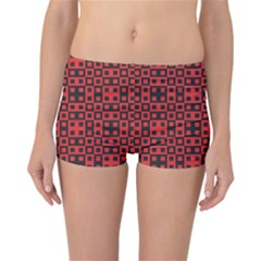 Abstract Background Red Black Reversible Bikini Bottoms