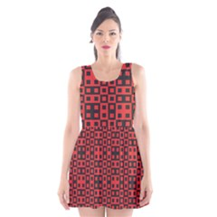 Abstract Background Red Black Scoop Neck Skater Dress