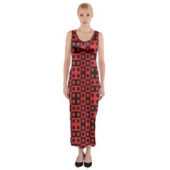 Abstract Background Red Black Fitted Maxi Dress