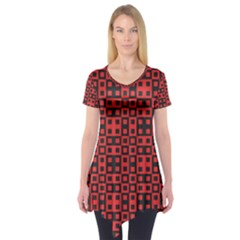 Abstract Background Red Black Short Sleeve Tunic
