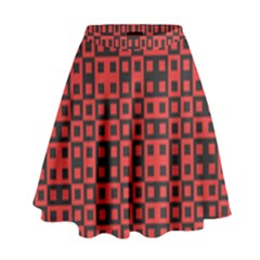 Abstract Background Red Black High Waist Skirt