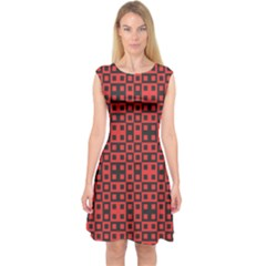 Abstract Background Red Black Capsleeve Midi Dress
