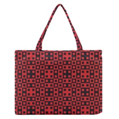 Abstract Background Red Black Medium Zipper Tote Bag