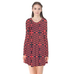 Abstract Background Red Black Flare Dress