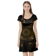 Abstract Fractal Art Artwork Short Sleeve Skater Dress