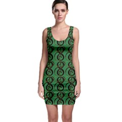Abstract Pattern Graphic Lines Sleeveless Bodycon Dress