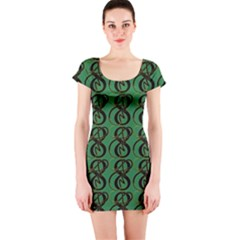 Abstract Pattern Graphic Lines Short Sleeve Bodycon Dress