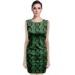 Abstract Pattern Graphic Lines Classic Sleeveless Midi Dress