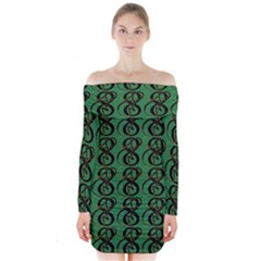 Abstract Pattern Graphic Lines Long Sleeve Off Shoulder Dress