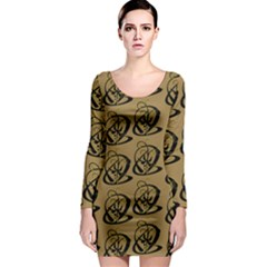 Abstract Swirl Background Wallpaper Long Sleeve Bodycon Dress