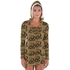 Abstract Swirl Background Wallpaper Women s Long Sleeve Hooded T-shirt