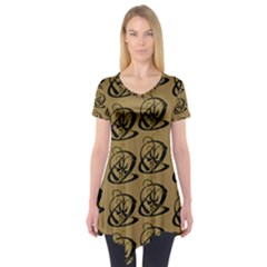 Abstract Swirl Background Wallpaper Short Sleeve Tunic