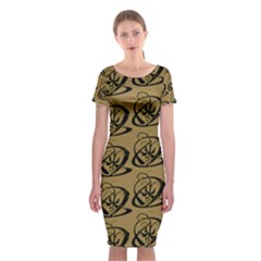 Abstract Swirl Background Wallpaper Classic Short Sleeve Midi Dress