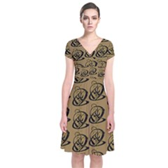 Abstract Swirl Background Wallpaper Short Sleeve Front Wrap Dress