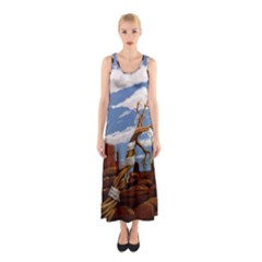 Acrylic Paint Paint Art Modern Art Sleeveless Maxi Dress