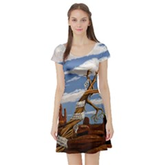 Acrylic Paint Paint Art Modern Art Short Sleeve Skater Dress
