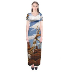 Acrylic Paint Paint Art Modern Art Short Sleeve Maxi Dress
