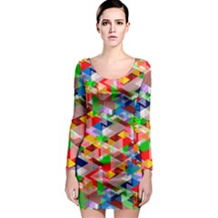 Background Abstract Long Sleeve Bodycon Dress