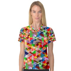 Background Abstract Women s V Neck Sport Mesh Tee