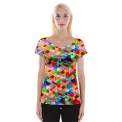 Background Abstract Women s Cap Sleeve Top