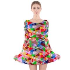 Background Abstract Long Sleeve Velvet Skater Dress