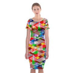 Background Abstract Classic Short Sleeve Midi Dress