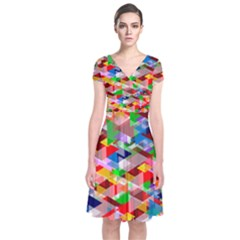 Background Abstract Short Sleeve Front Wrap Dress