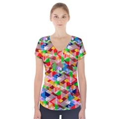 Background Abstract Short Sleeve Front Detail Top