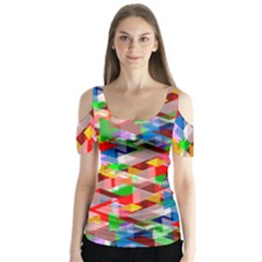 Background Abstract Butterfly Sleeve Cutout Tee