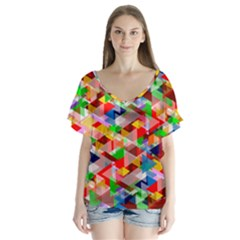 Background Abstract Flutter Sleeve Top