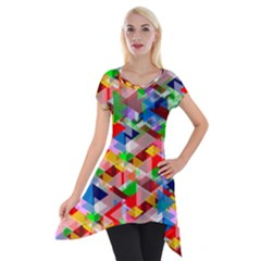 Background Abstract Short Sleeve Side Drop Tunic