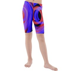 Background Blue Red Kids  Mid Length Swim Shorts