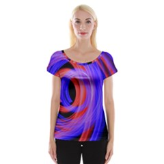 Background Blue Red Women s Cap Sleeve Top