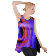 Background Blue Red Side Drop Tank Tunic